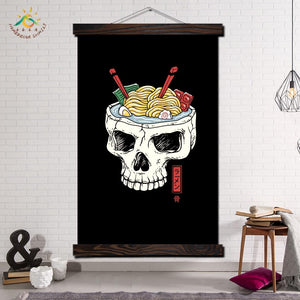 Ramen Skull Brain Wall Art Canvas Prints - skulldaze
