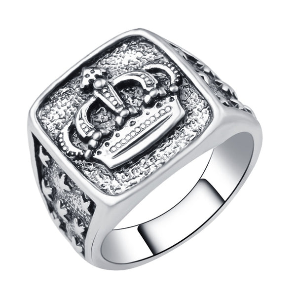 Silver Plated Stamped Crown Ring - skulldaze