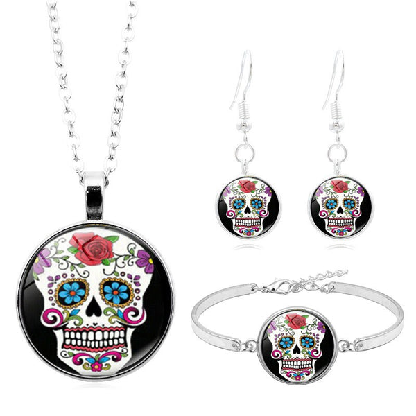 Sugar Skull  Fashion Jewelry Set Day of The Dead Cabochon Glass Necklace Bracelet Earring Jewelry Sets for Women Gift - skulldaze