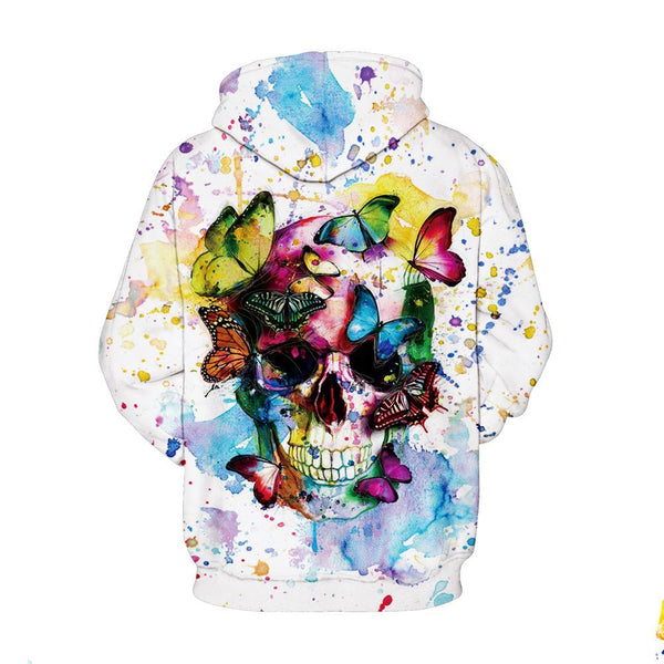 Watercolor Skull Flower Butterfly Hoodie - skulldaze