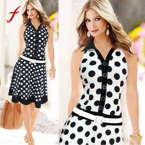 Polka Dot Button Dress - skulldaze