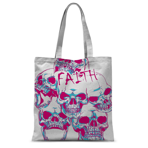 Faith and SKulls Classic Sublimation Tote Bag - skulldaze
