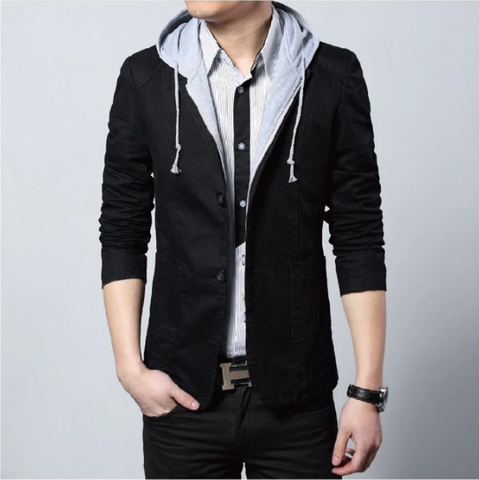 Mens Street Style Hooded Blazer in Black - skulldaze