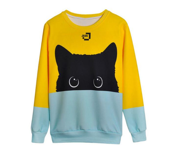 Black Cat Pullover Colorblock Style Sweatshirt - skulldaze