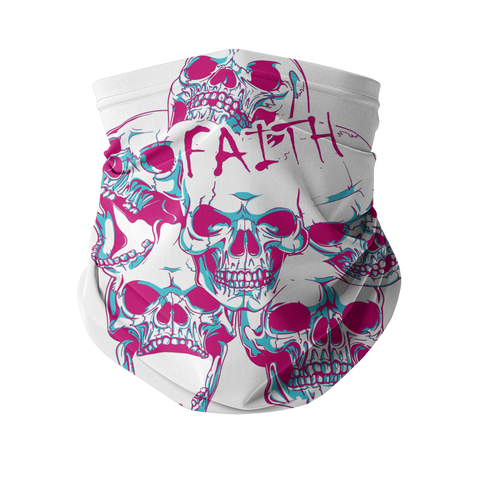 Faith and SKulls Sublimation Neck Gaiter - skulldaze