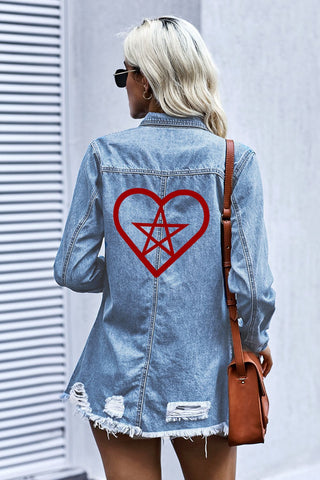 Denim Jacket Pent up Heart - skulldaze