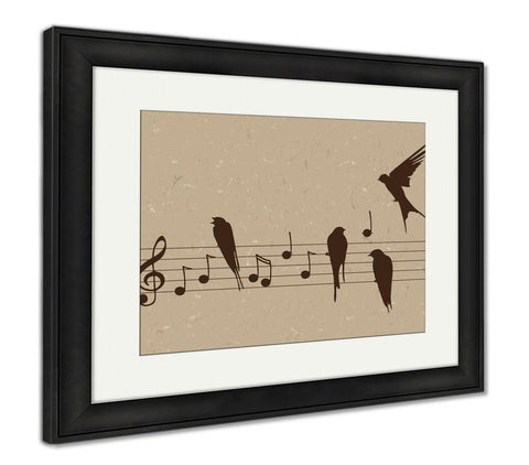 Framed Print, Music Notes With Birds - skulldaze