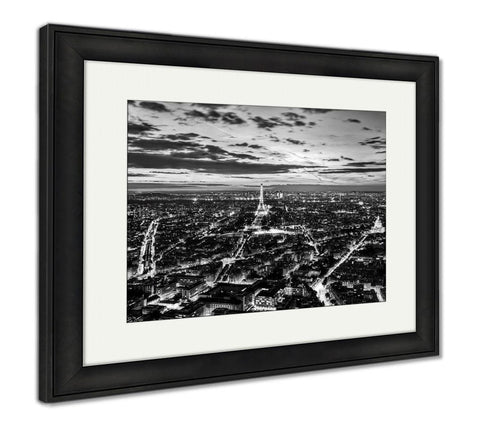 Framed Print, Paris France Skyline Panoramsunset Young Night View On Eiffel - skulldaze