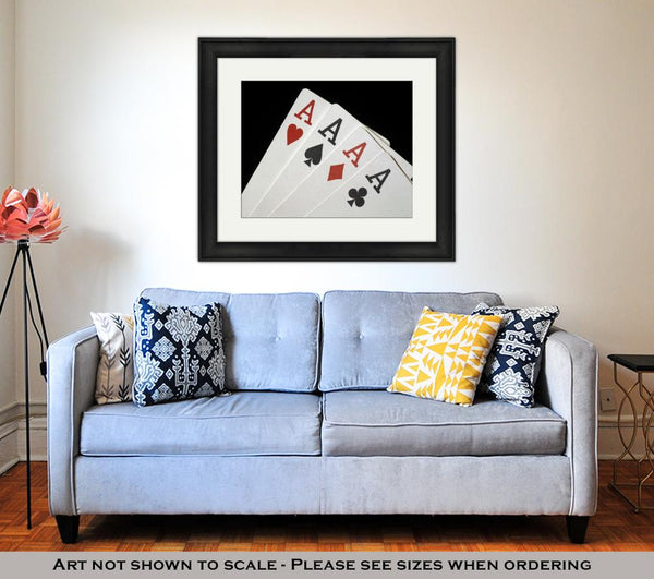 Framed Print, Four Aces On Black - skulldaze