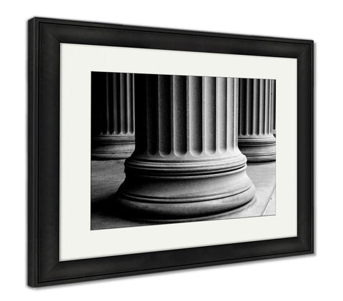 Framed Print, Closeup Of Classic Columns In Black And White - skulldaze