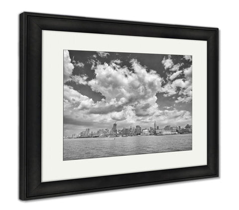 Framed Print, New York Black And White Picture Of Manhattan - skulldaze