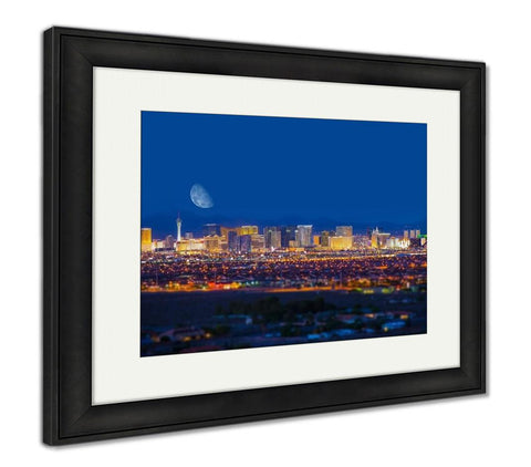 Framed Print, Las Vegas Strip And Moon - skulldaze