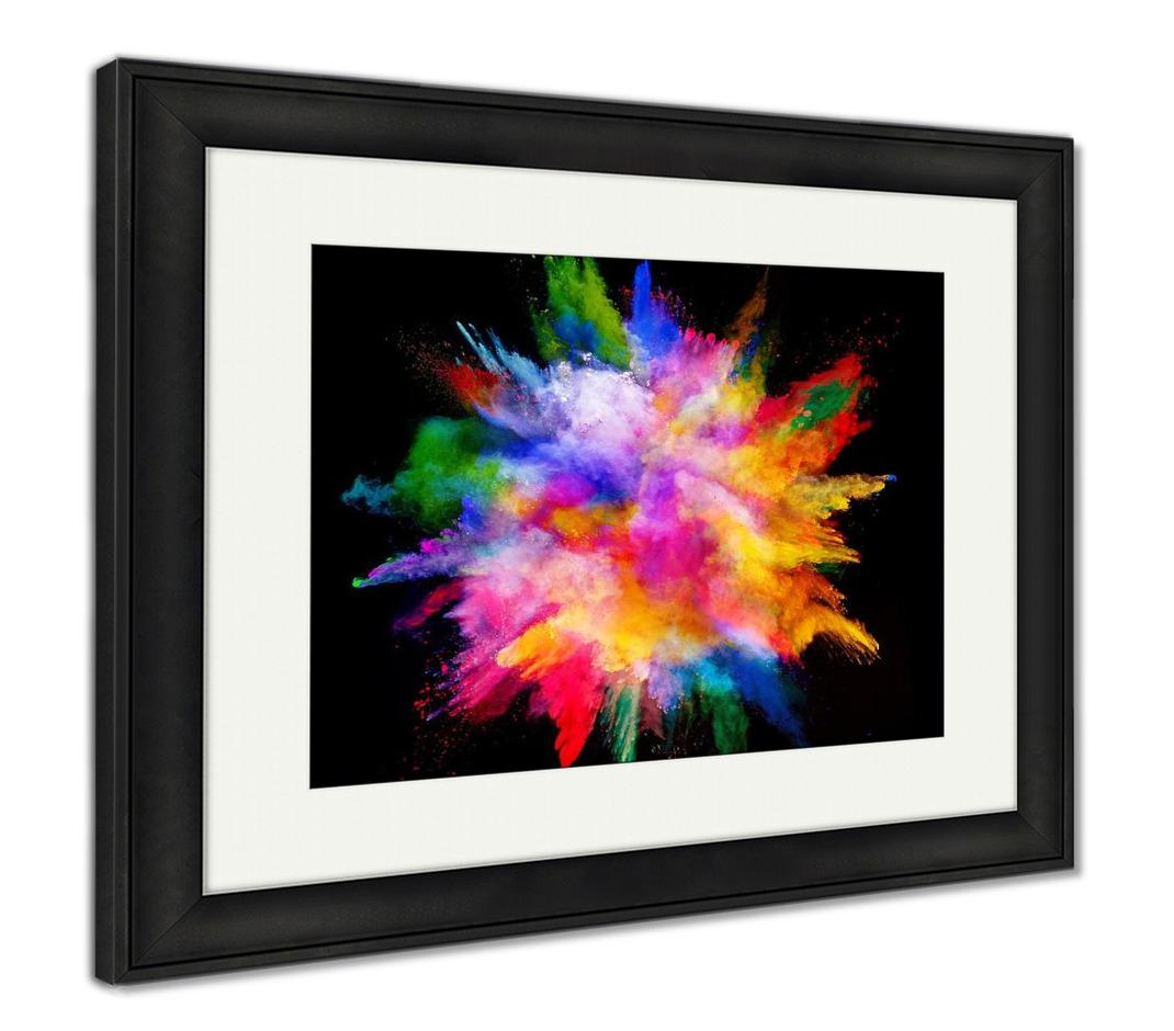 Framed Print, Explosion Of Colored Powder Isolated On Black Power And Art Concept Abstract - skulldaze