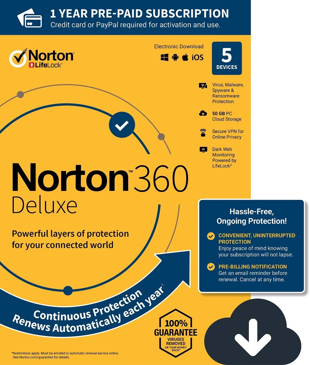 Norton 360 Deluxe | 5-Devices - 1Year | 50Gb Cloud Storage - Digital Zone
