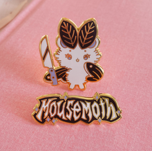 Load image into Gallery viewer, Metal Mousemoth Set of 2 Pins (Logo Pin and Knife Pin)