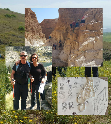 a collage of Danny hiking with his wife Osnat, and hand drawn jewelry designs