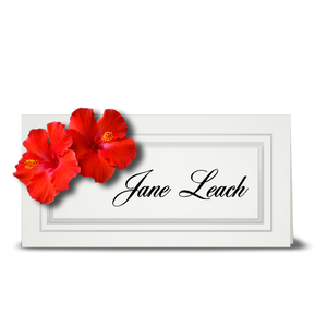 Hibiscus, double red - place card