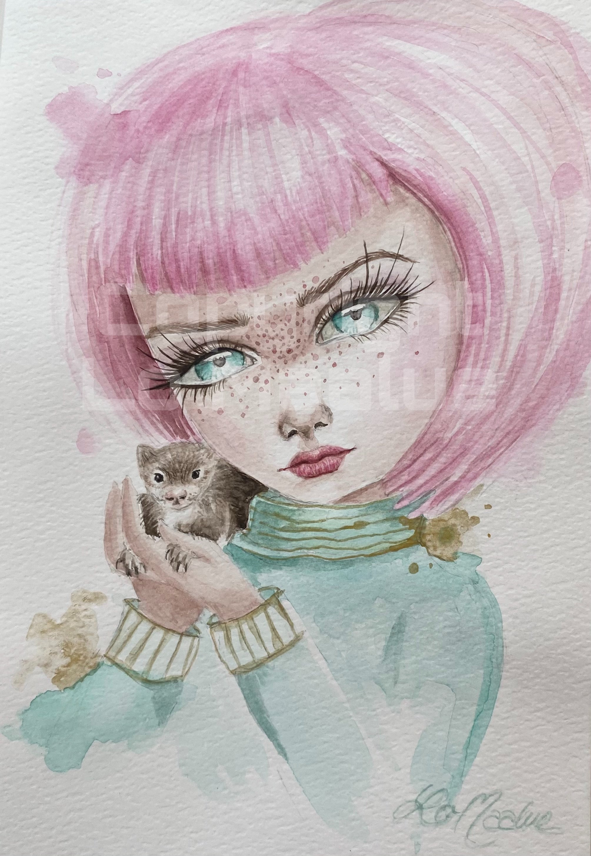 Original watercolor maleri 1