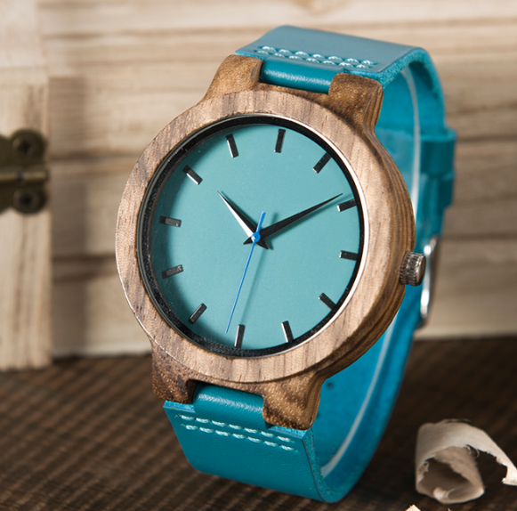 Bamboo watch silicone band green Japanese quartz movement watch female watch
