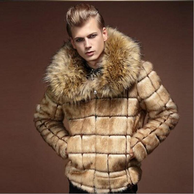 KaLeB Mens Luxury Faux Fox Fur Winter Big Fur Collar Slim Fit Short Thick Coat Casual Jacket Hip Length Parka Outwear Overcoat
