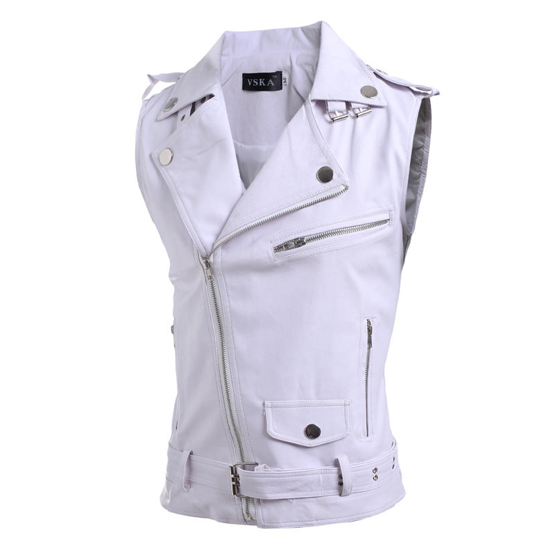 Zip-fit slim lapel short PU leather vest