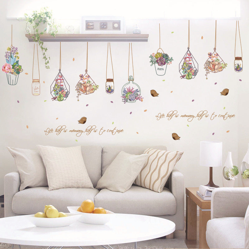 Basket drift bottle wall sticker