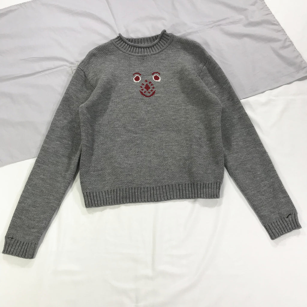 Cartoon bear smiley face avatar half-high collar gray pullover bottoming sweater