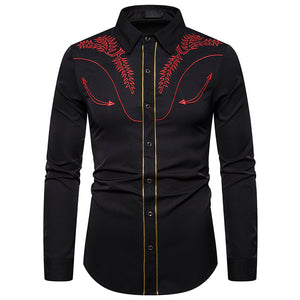 Embroidered long-sleeved shirt with gold trim