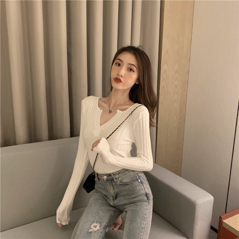 Slim-fit fashion long-sleeved blouse with pullover and bottoming shirt for women