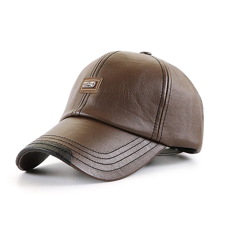 Men's leather baseball cap