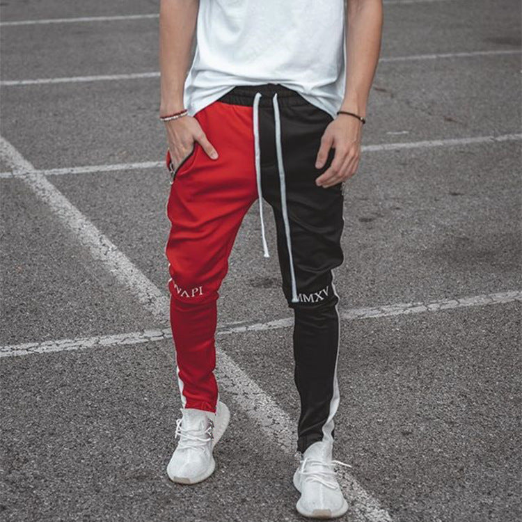 Patchwork stretch fit pants