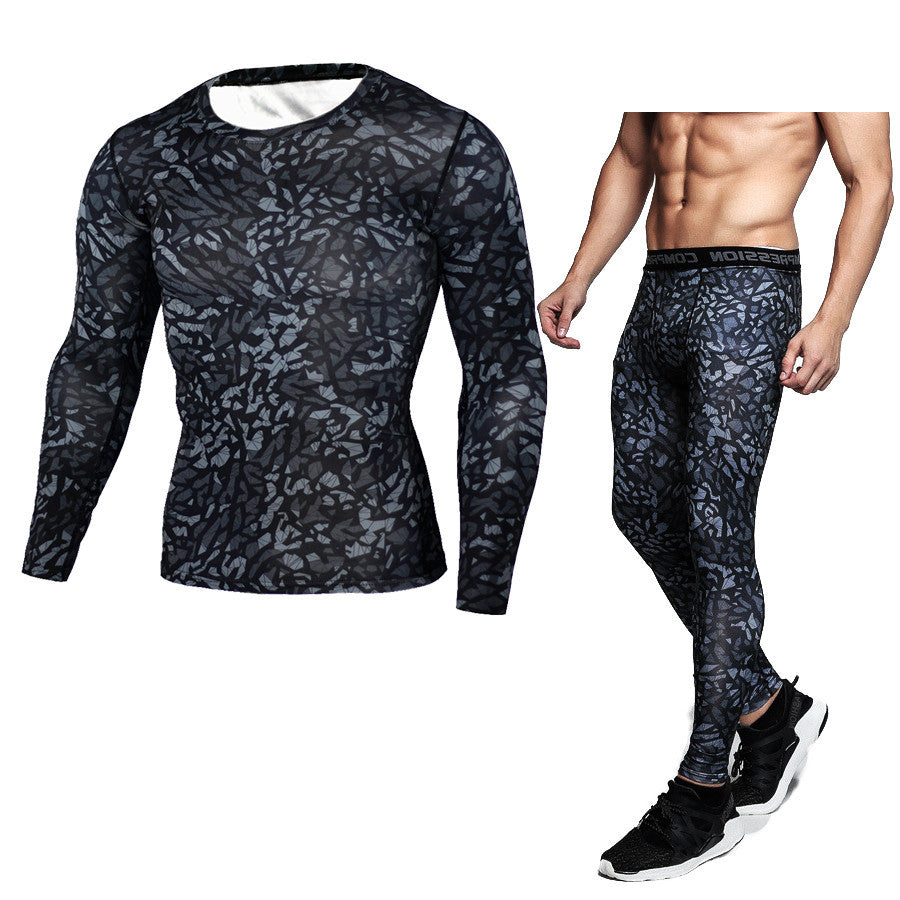 Sports suit men's running quick-drying long-sleeved trousers