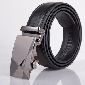 Leather automatic buckle belt