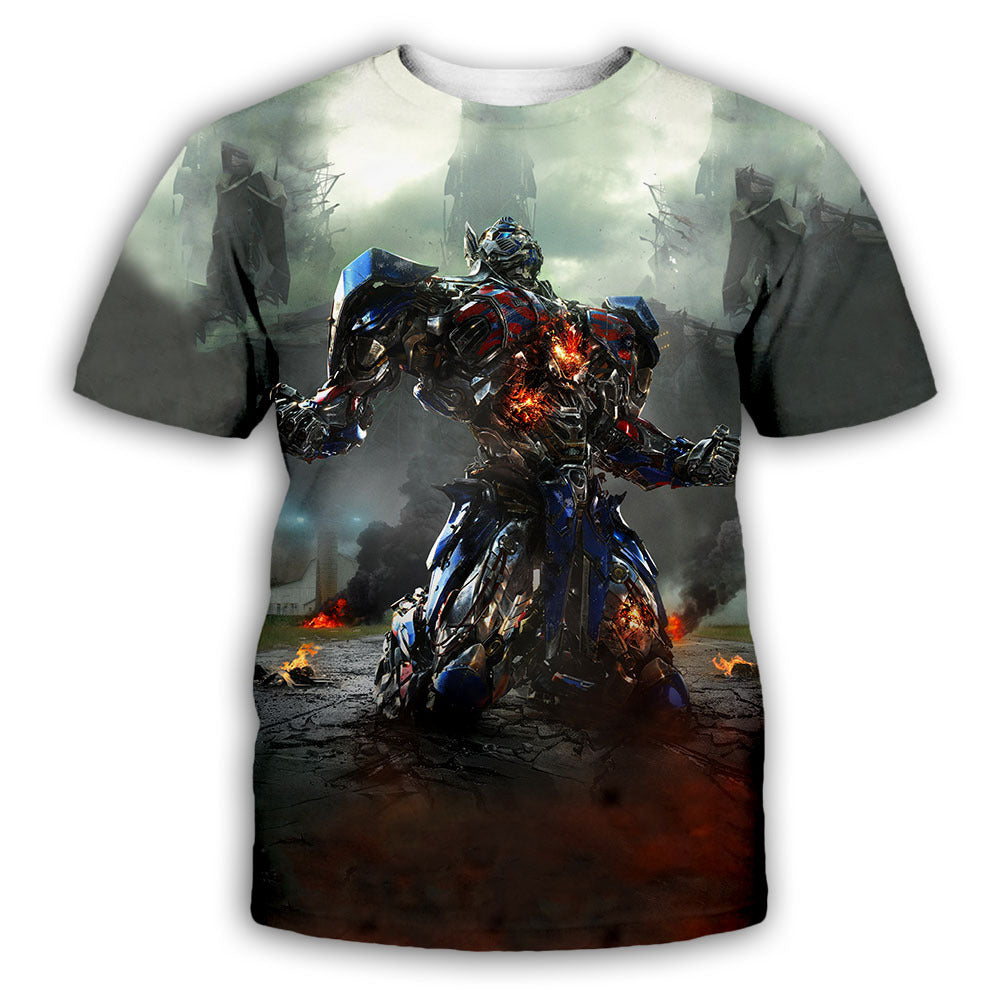 Transformers 3d Digital Printing Round Neck T-shirt