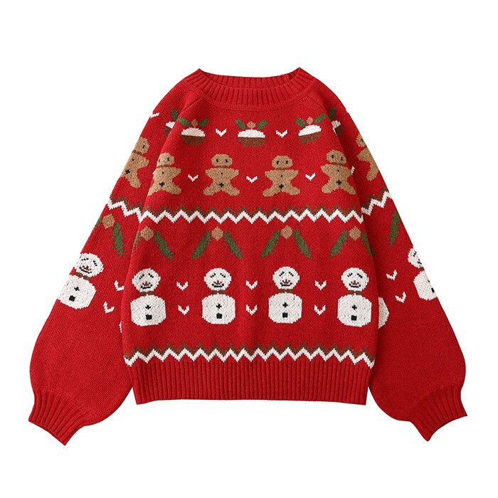 Lantern sleeve childlike red sweater female