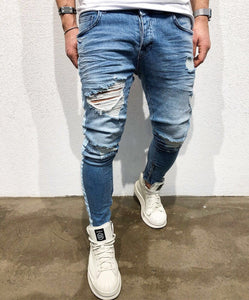 Shredded Stretch-Fit Slim Leg Denim Trousers