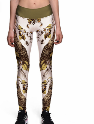 Yellow Owl Print Sports Slim Pants Sweat Yoga Base High Waist Pants