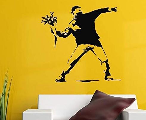 Art Wall Sticker for Boys Holding Flowers