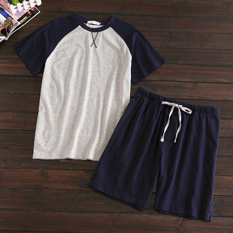 Men's summer short sleeve shorts home set