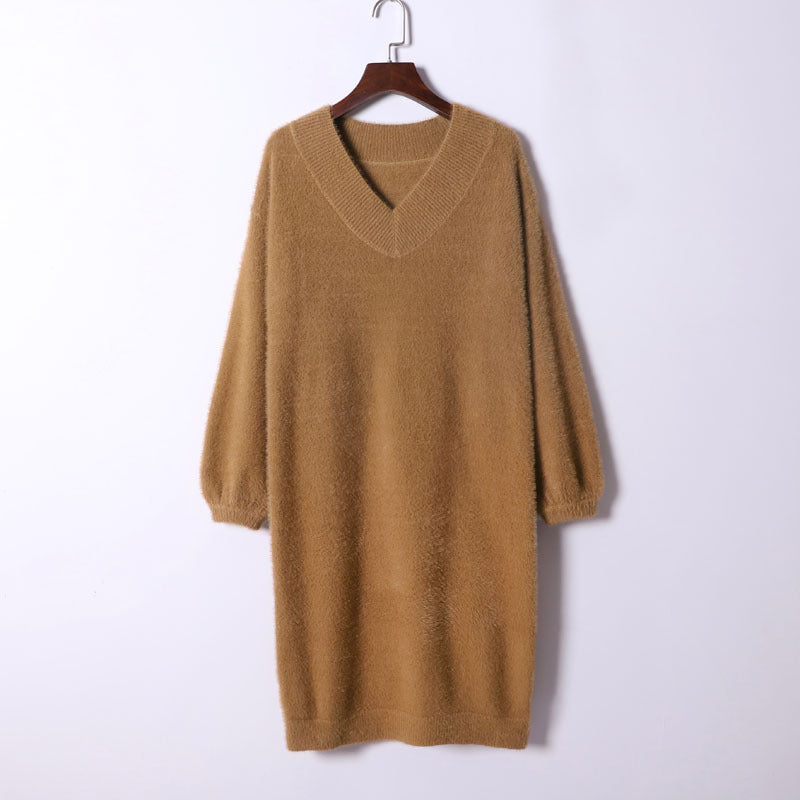 Women's mink knitted pullover thick bottomed sweater