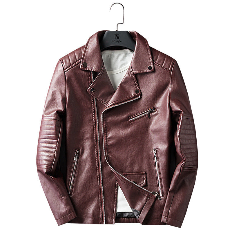 Cross-border for Europe and America simple spring and autumn men's lapel zipper washed pu leather coat motorcycle leather jacket men