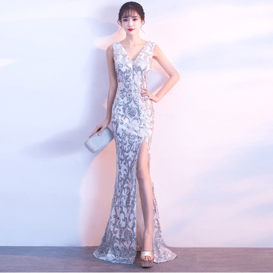 Banquet evening dress autumn and winter fashion gold sexy long fishtail nightclub dinner dress skirt female