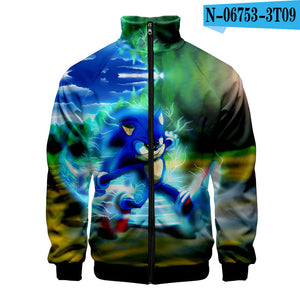 Sonic the Hedgehog 3D digital printing men's stand-up collar zipper sweater