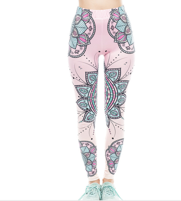 Digital printing was thin printed stretch big ladies yoga feet leggings women's clothing