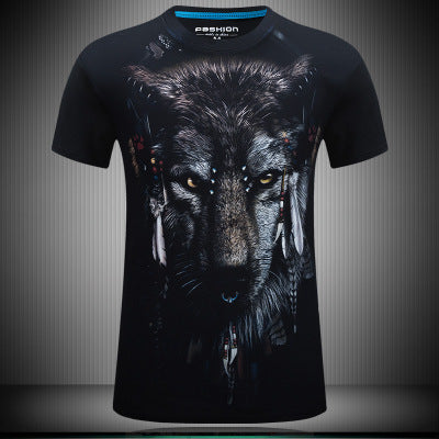 2015 stereoscopic animal creative design 3D short sleeved T-shirt tide men short sleeved 3D T shirt manufacturer wholesale Wolf
