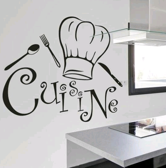 Cuisine generation carved removable personality wall stickers living room kitchen restaurant wallpaper