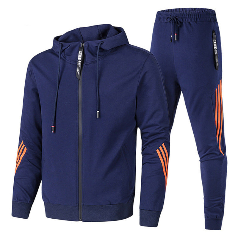 Hooded Slim Stripe Patchwork Sports Suit