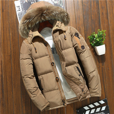Men's down jacket short white duck down