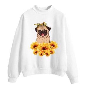 Pug sunflower print sweatshirt