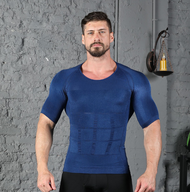 Male Chest Compression T Shirt Fitness Hero Belly Buster Slimming Tea